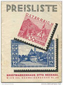 Briefmarkenhaus Otto Necesal Wien XXI Schwaigergasse - 16 Seiten Preisliste 1934
