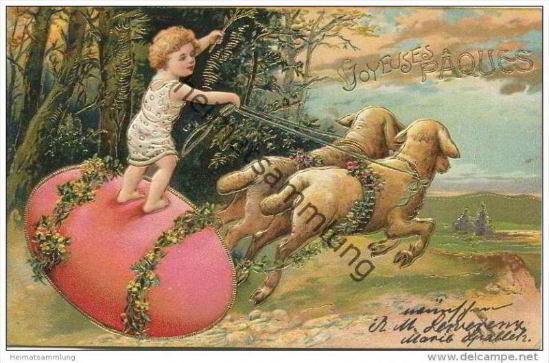 Ostern - Joyeuses Paques - Schafe - Goldprägedruck