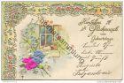 Geburtstag - Blumen mit Stoff bezogen - Prägedruck