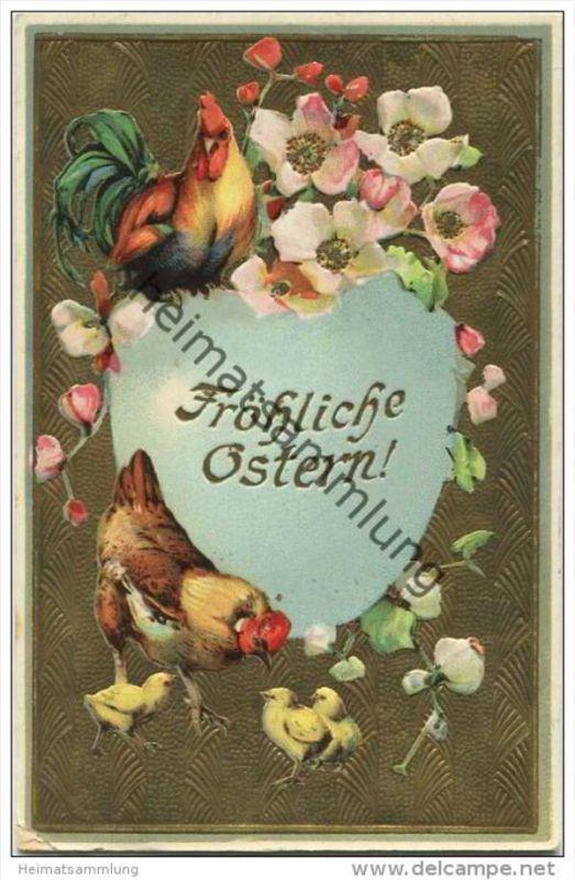 Fröhliche Ostern - Küken - Hahn - Henne - Goldprägedruck