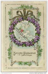 Geburtstag - Tauben - Veilchen - Goldprägedruck