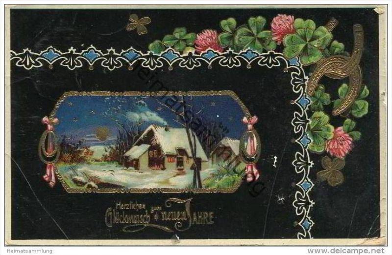 Neujahr - Landschaft im Schnee - Klee - Hufeisen