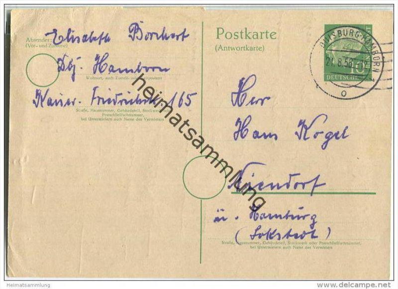 Bund - Postkarte 10 Pfg Heuss grosser Kopf - Antwortkarte gelaufen 1956