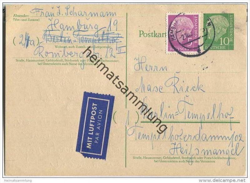 Bund - Postkarte 10 Pfg Heuss grosser Kopf - Luftpost 1957