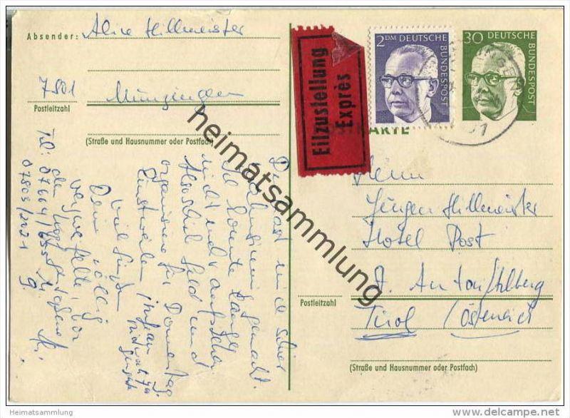 Bund - Postkarte 30 Pfg Heinemann mit Zusatz Heinemann 2,- DM - Eilzustellung nach Österreich - gelaufen 1973