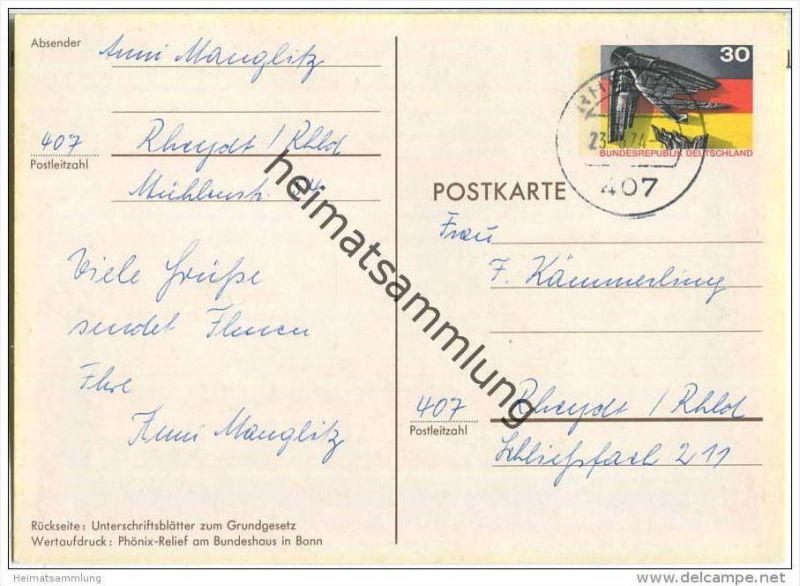 Bund - Postkarte 30 Pfg - Sonderkarte 25 Jahre BRD - gelaufen 1974