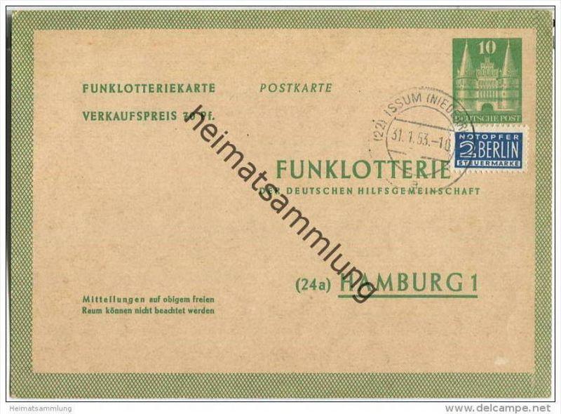 Bund - Funklotteriekarte 10 Pfg. Holstentor - Hamburg 1 - Unkosten 50 Pfg.  - gelaufen 1953
