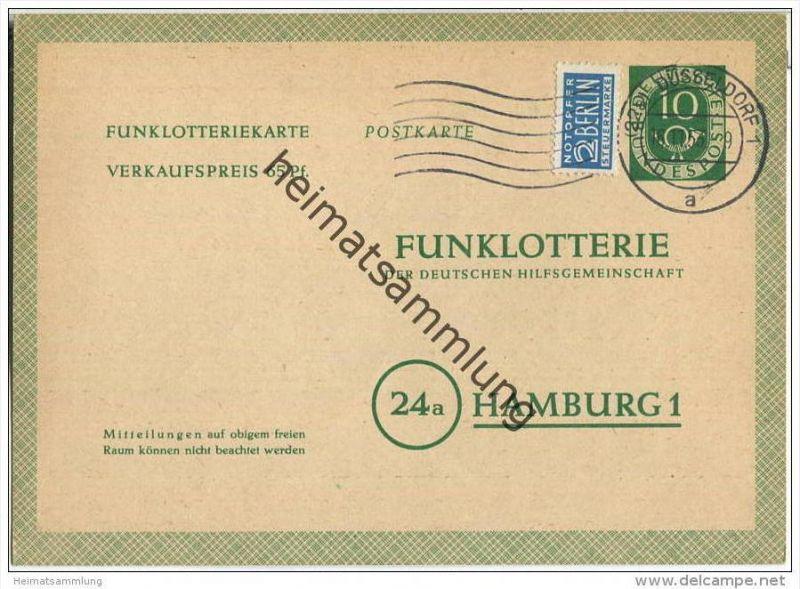 Bund - Funklotteriekarte 10 Pfg. Posthorn  - gelaufen 1953