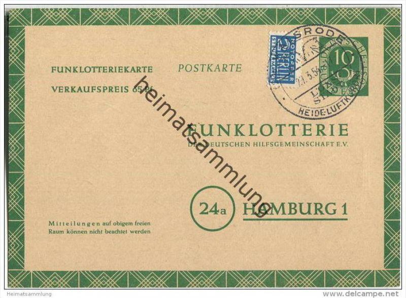 Bund - Funklotteriekarte 10 Pfg. Posthorn - mit E.V.  - gelaufen 1954