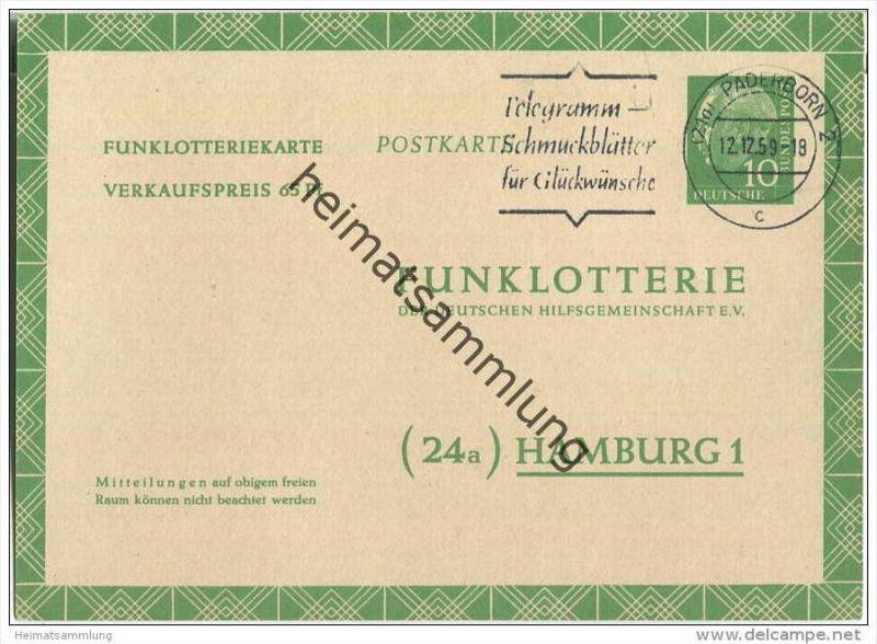 Bund - Funklotteriekarte 10 Pfg. Heuss mit Postleitzahlklammern - gelaufen 1959