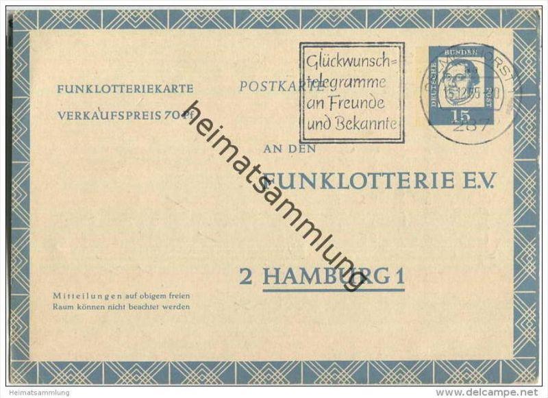 Bund - Funklotteriekarte 15 Pfg. Martin Luther - gelaufen 1965