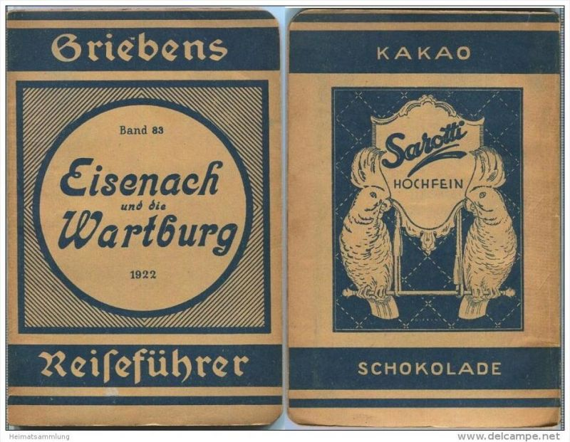 Eisenach und die Wartburg - 13. Auflage 1922 - 64 Seiten plus Werbung - Mit zwei Karten