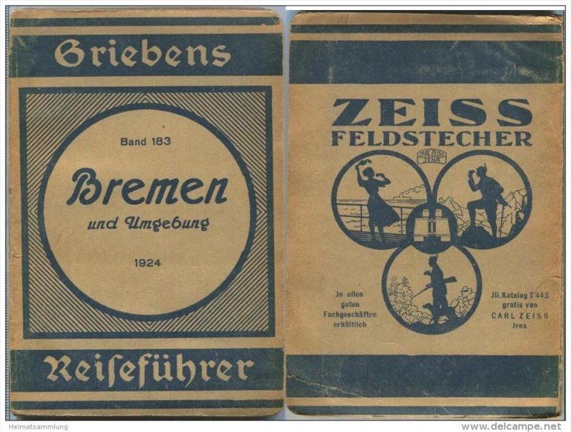 Bremen und Umgebung - 3. Auflage 1924 - 80 Seiten plus Werbung - Mit zwei Karten