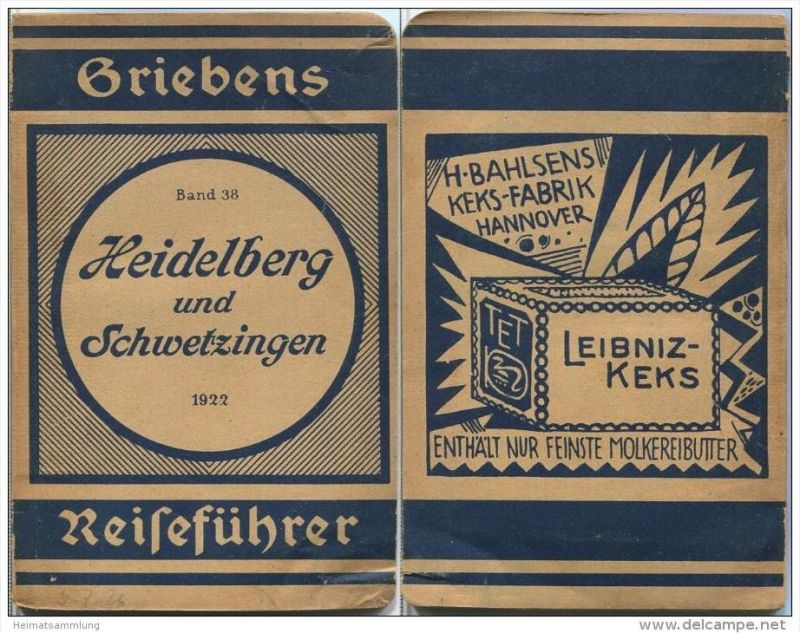 Heidelberg und Schwetzingen - 9. Auflage 1922 - 50 Seiten plus Werbung - Mit drei Karten