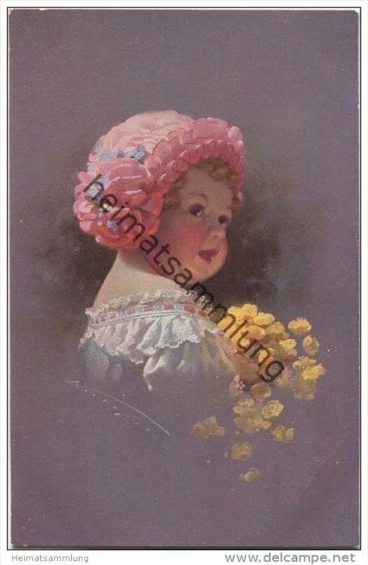 Kleines Mädchen mit Mütze und Blumen - Ludwig Knoefel - Verlag Novitas GmbH Berlin Nr. 10664