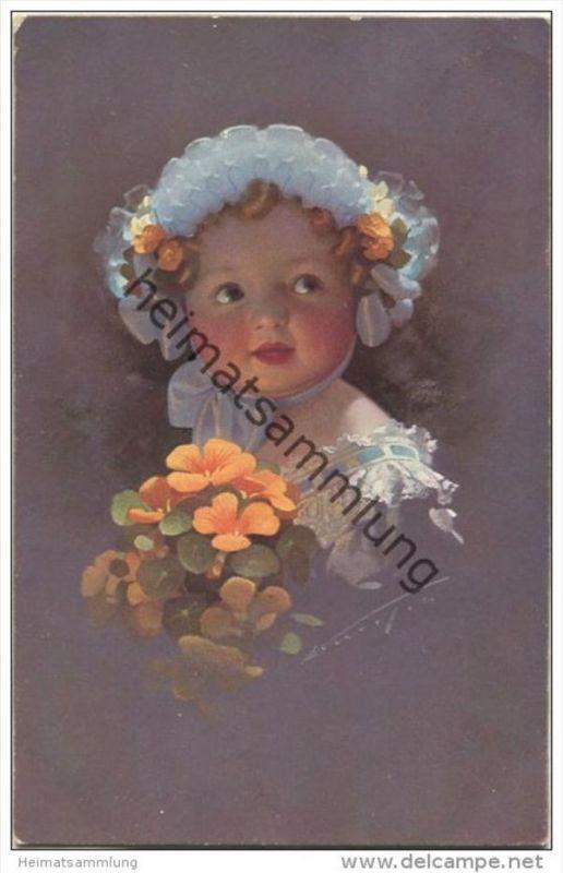 Kleines Mädchen mit Mütze und Blumen - Ludwig Knoefel - Verlag Novitas GmbH Berlin Nr. 10664 gel. 1913