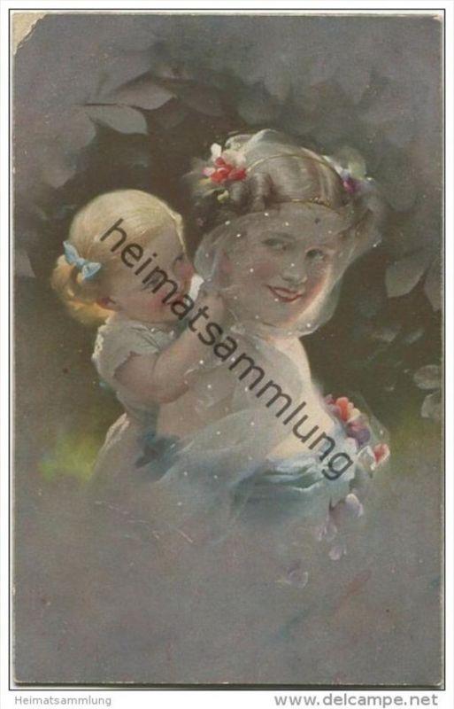 Junge Frau mit kleinem Mädchen - Ludwig Knoefel - Verlag Novitas GmbH Berlin Nr. 20887