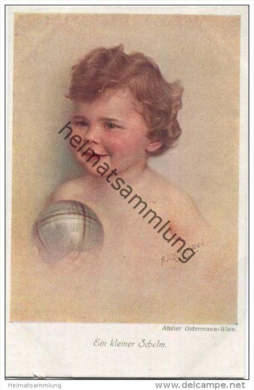 Ein kleiner Schelm - Kind mit Ball - Atelier F. J. Ostermann Wien - Verlag B. K. W. Nr. 405-4