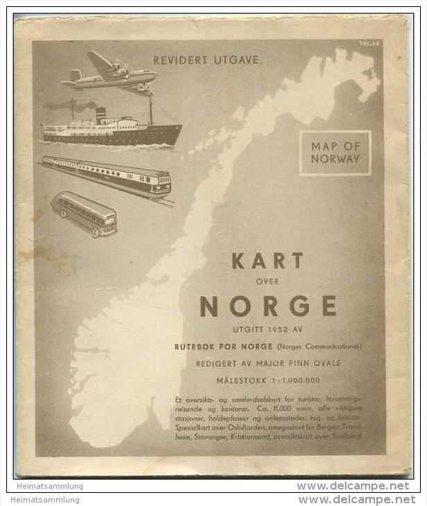 Norwegen 1952 - Rutebok for Norge - Massstab 1:1.000.000 - 76cm x 88cm