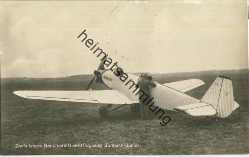 Flugzeug Junkers Junior - Foto-Ansichtskarte ca. 1930 - Verlag F Z Dessau