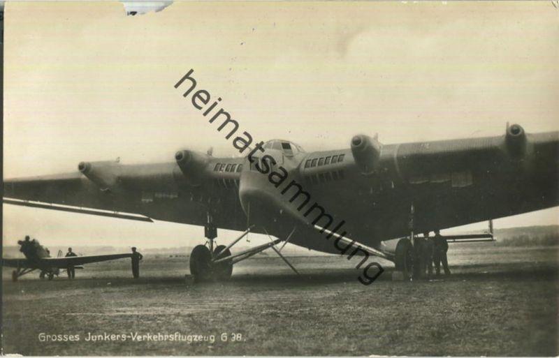 Flugzeug Junkers Verkehrsflugzeug G 38 - Foto-Ansichtskarte ca. 1930 - Verlag F Z Dessau