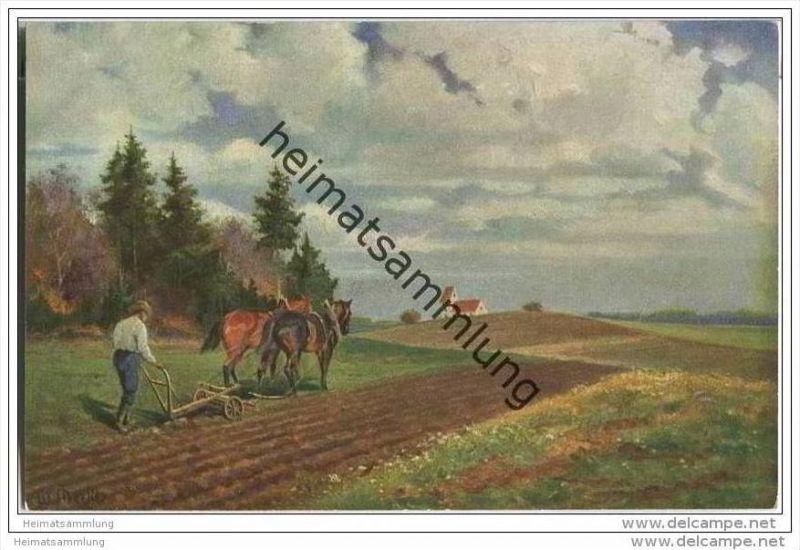 Bauer beim Pflügen - Pferde - signiert M. Merker