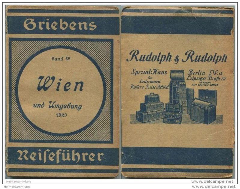 Wien und Umgebung - 1923 - Mit drei Karten - 105 Seiten - Band 68 der Griebens Reiseführer