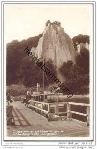 Stubbenkammer auf Rügen - Königsstuhl mit Landungsbrücke und Dampfer - Foto-AK