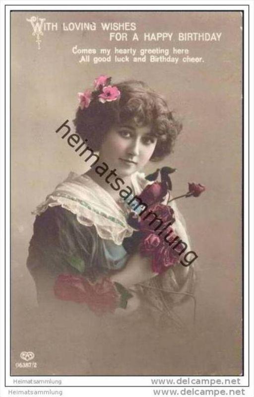 Geburtstagskarte   Frau mit Rosen   coloriert   Foto AK Nr