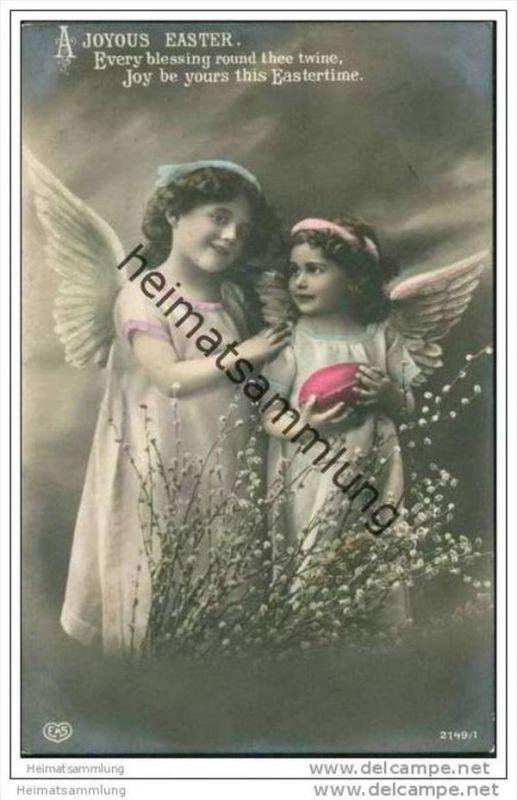 Fröhliche Ostern - zwei Engelchen - Foto-AK