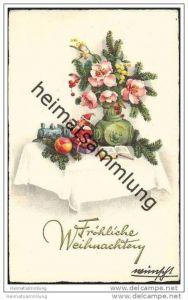 Weihnachten - Künstlerkarte - Gabentisch - Spielzeug