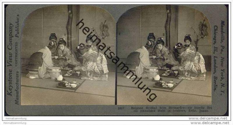 Tokio Japan - reizende Geishas beim Mittagessen - Keystone View Company - Stereofotographie