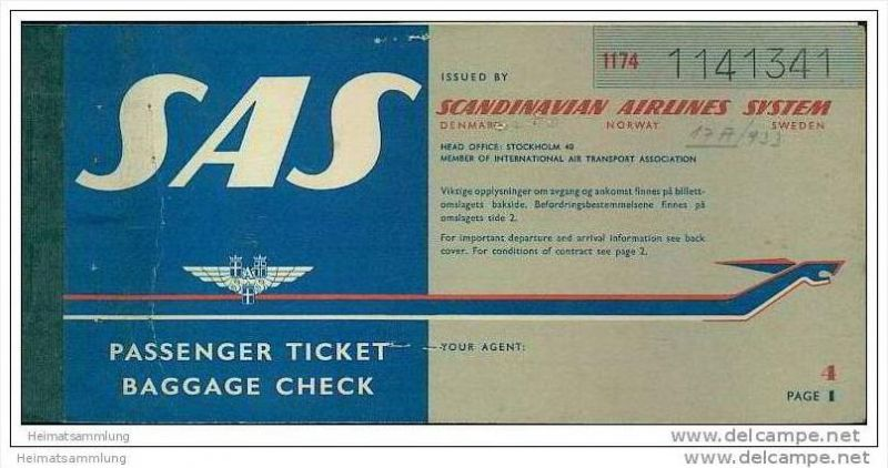 SAS - Scandinavian Airlines System 1959 - Zurich Copenhagen L. Angeles New York Zurich