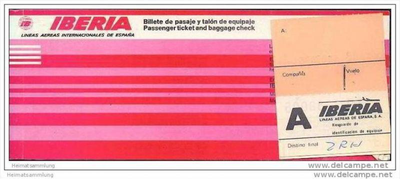 Iberia 1977 - Lineas Aereas Espana - Zurich Madrid Asturias Madrid Zurich