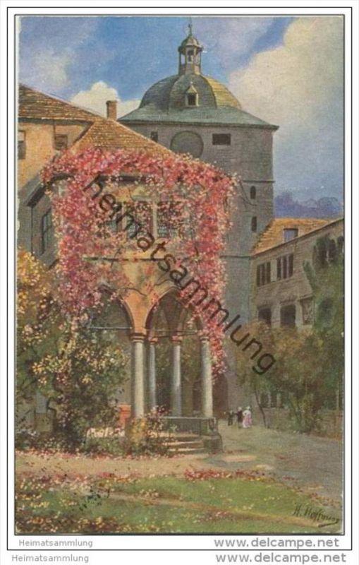 Heidelberg - Partie aus dem Schlosshof mit Brunnenhalle und Wartturm - Künstlerkarte sig. H. Hoffmann