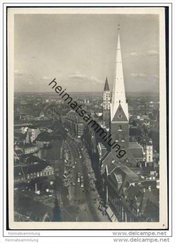 Hamburg - Blick vom Rathausturm in die Mönckebergstrasse - Foto-AK Grossformat