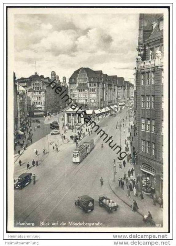Hamburg - Blick auf die Mönckebergstrasse - Foto-AK Grossformat