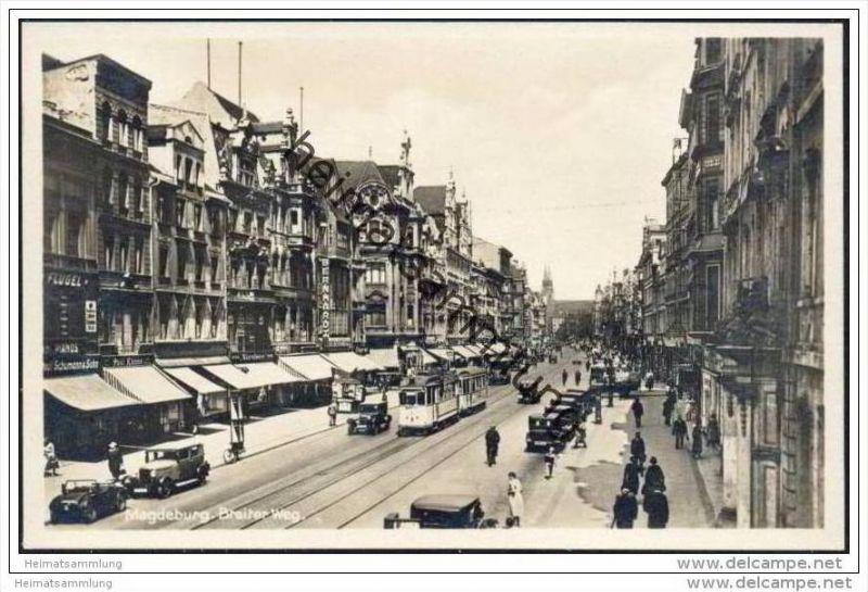 Magdeburg - Breiter Weg - Strassenbahn - Foto-AK 30er Jahre