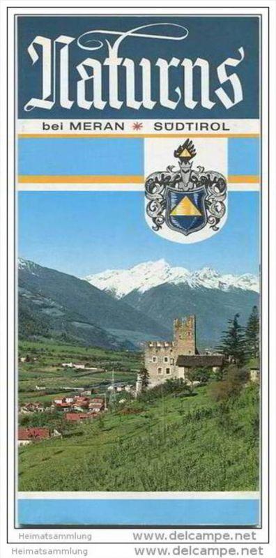 Naturns bei Meran 1974 - Faltblatt mit 14 Abbildungen - Reliefkarte signiert Stampl 64