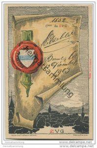 Zug - Künstlerkarte von Helène Hantz - Canton de Zug - mit der Silouette von Zug