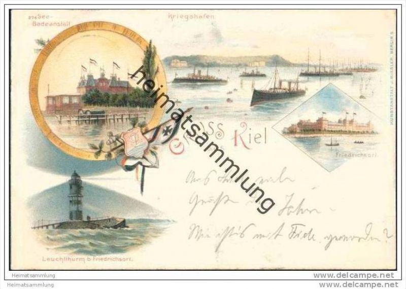Gruss aus Kiel - See Badeanstalt - Kriegshafen - Leuchtturm bei Friedrichsort