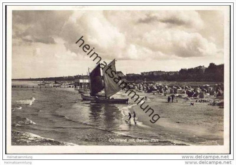 Kiel - Ostseestrand mit Badeanstalt - Foto-AK 30er Jahre