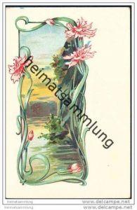 Jugendstil - Nelken - Künstlerkarte