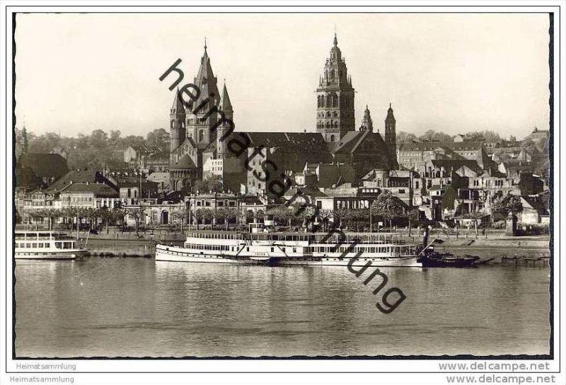 Mainz - Rheinufer - Rheinschiff Frieden - Foto-AK