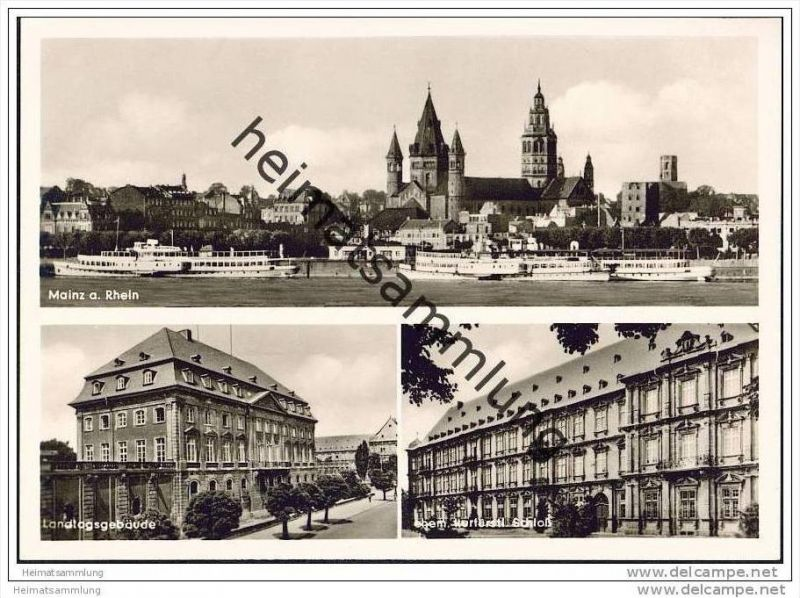 Mainz - Rheinufer - Landtagsgebäude - Schloss - Foto-AK Grossformat