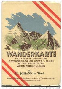 91 St. Johann in Tirol 1948 - Wanderkarte mit Umschlag - Provisorische Ausgabe der Österreichischen Karte 1:50.000 - Her