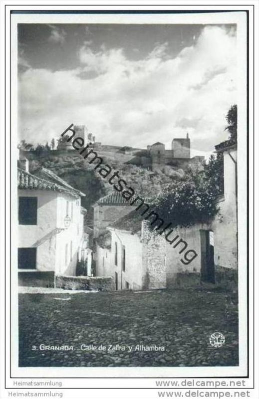 Granada - Calle de Zafra y Alhambra - Foto-AK 30er Jahre