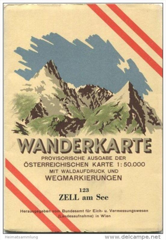 123 Zell am See 1950 - Wanderkarte mit Umschlag - Provisorische Ausgabe der Österreichischen Karte 1:50.000 - Herausgege