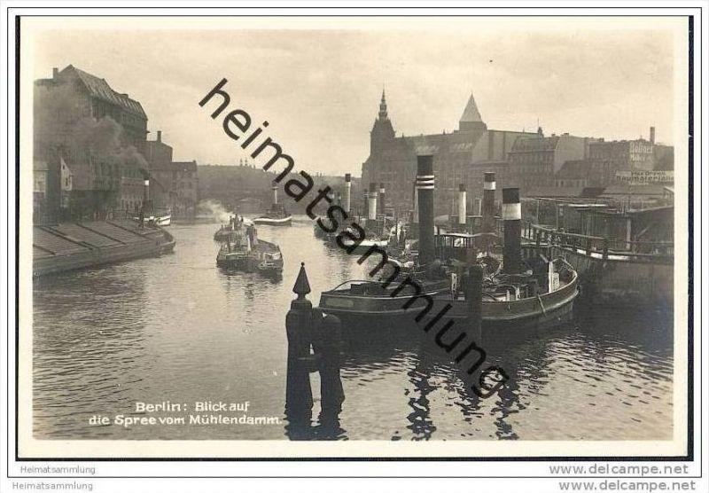 Berlin - Spree vom Mühlendamm - Dampfer - Foto-AK 20er Jahre