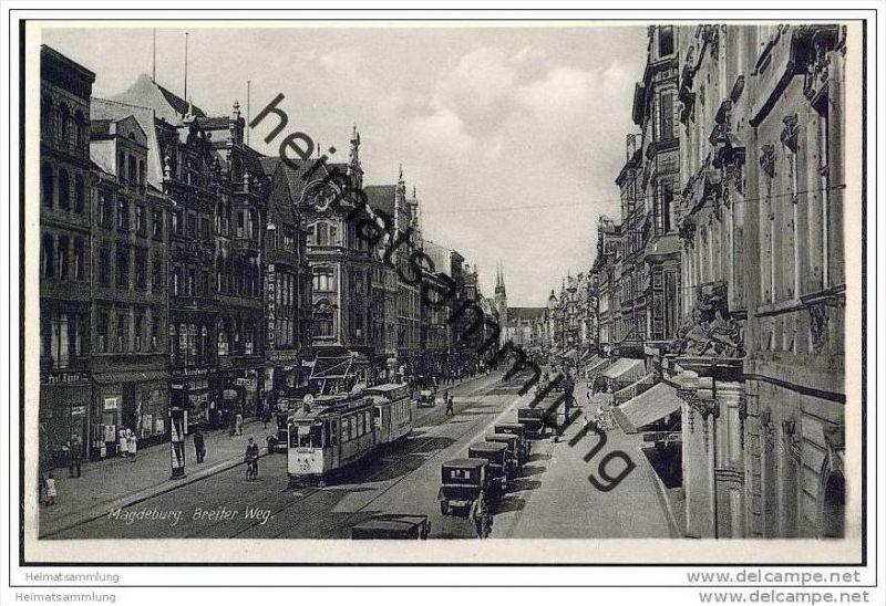 Magdeburg - Breiteweg - Strassenbahn - Foto-AK 30er Jahre